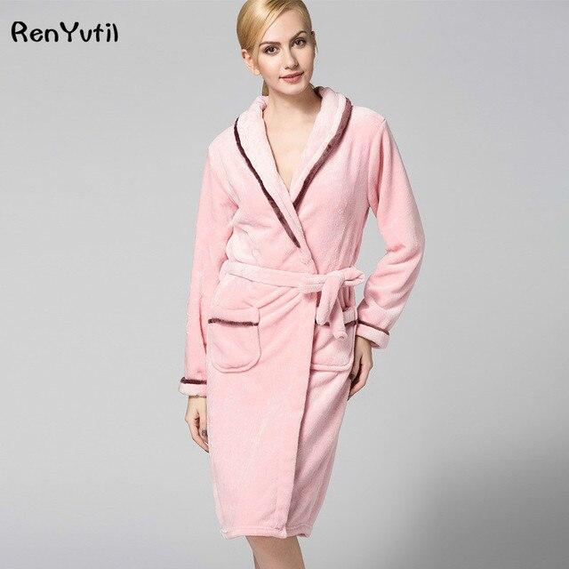 023eac28d6 RenYvtil Winter Flannel Robe Bathrobe Luxury Terry Cloth Hotel Bathrobe  Premium 100% Turkish Cotton Thickening Keep Warm Home