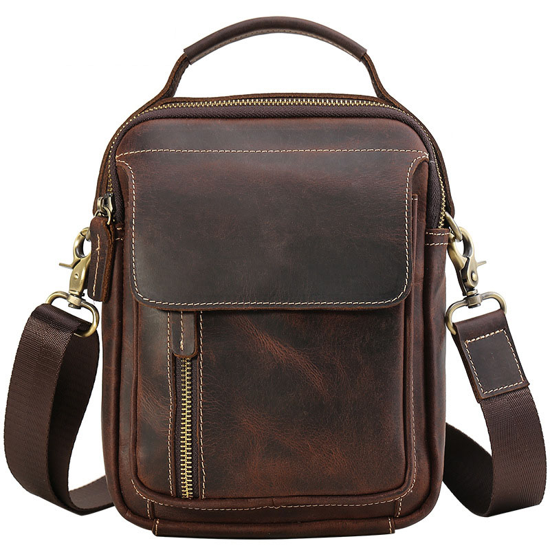 Male Genuine Leather Handbag Men Vintage Crazy Horse Messenger Shoulder Bag Men's Briefcase Crossbody Casual Bag Small Flap Tote j m d crazy horse leather women flap messenger bag casual sling bag small lady purse c005b