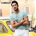 2016 Chegada Nova Marca Homens SIMWOOD Roupas manga curta-shirt T Homens O-pescoço Slim Fit Cotton Casual Tshirt Homme além de SizeTD1010