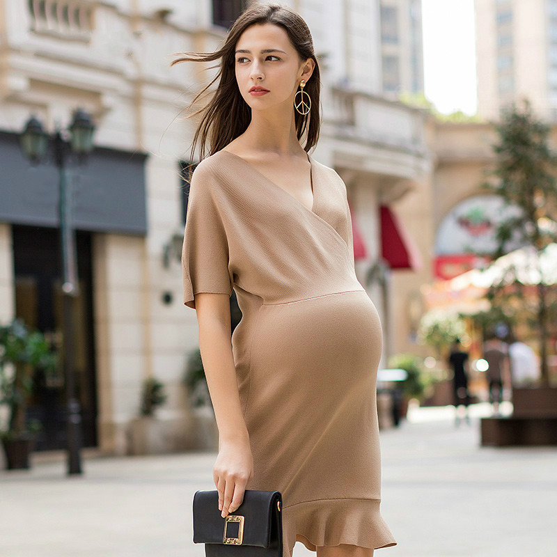 Pregnant women dress spring and summer European and American style v-neck cross lactation pregnant women with short sleeves A84 navy random feathers print v neck short sleeves slit hem maxi dress