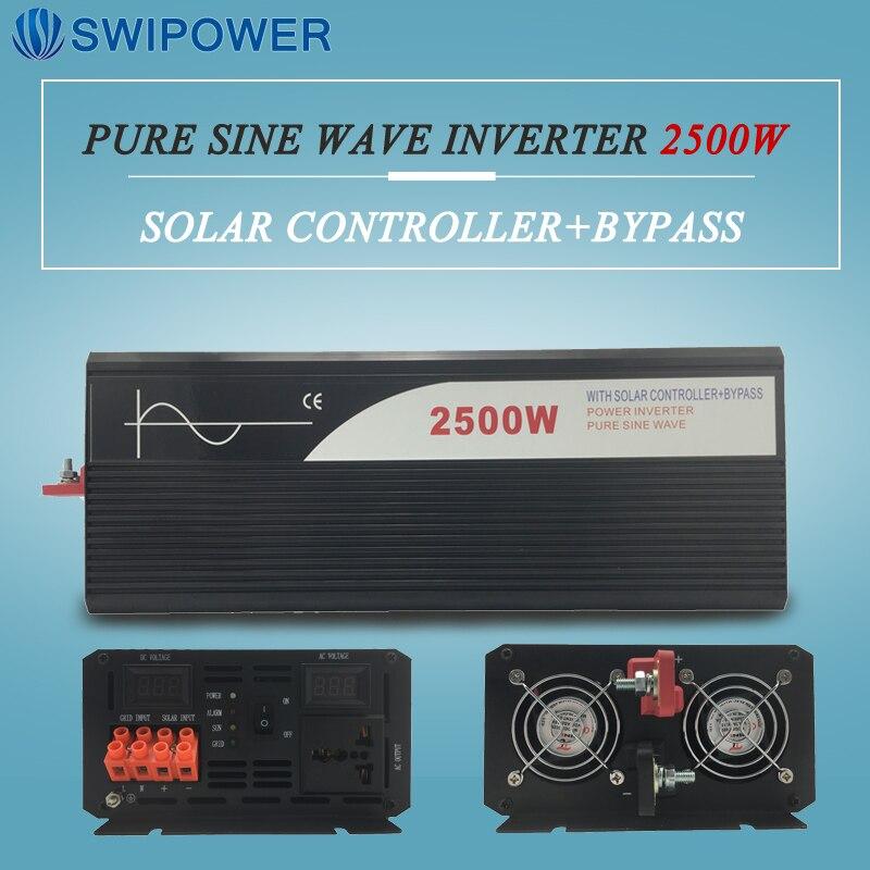 Onde sinusoïdale pure énergie solaire onduleur 2500 w 12 V/24 V DC à AC 120 V/220 V avec régulateur solaire avec bypass