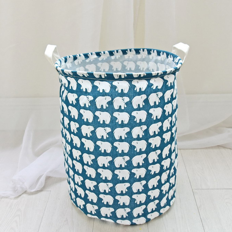 Collapsible Canvas Laundry Basket For Bedroom Nursery Dorm Closet 35x45CM  Waterproof Cotton Linen Wash Bags Storage
