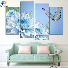 No frame 4 Panels HD Picture Canvas Painting Artwork blue chrysanthemum Flower Large Modern Decoration Wall Living room H067