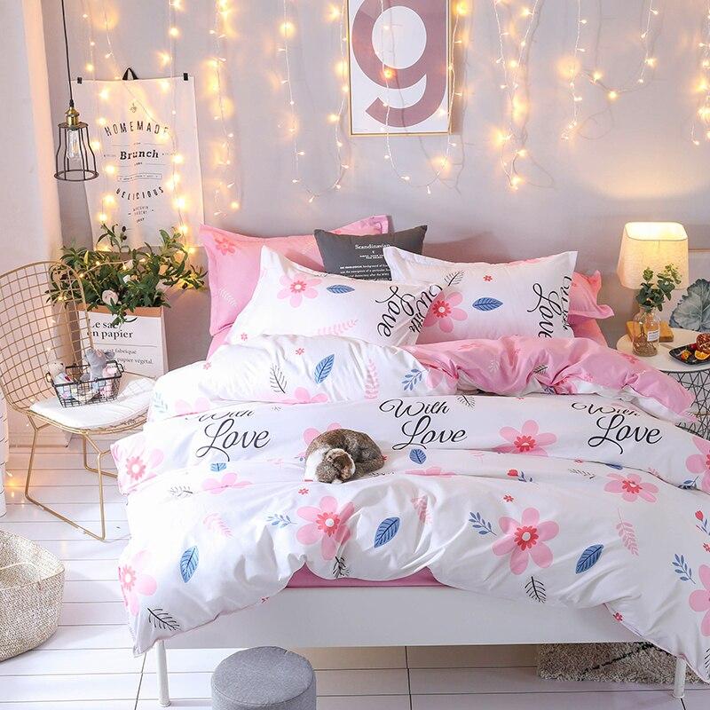 2018 New Bedding Set Pink Flowers Design Duvet Cover Flat Sheet Pillowcase Quilt Cover 3pcs/4pcs Bed Set Twin Full Queen King