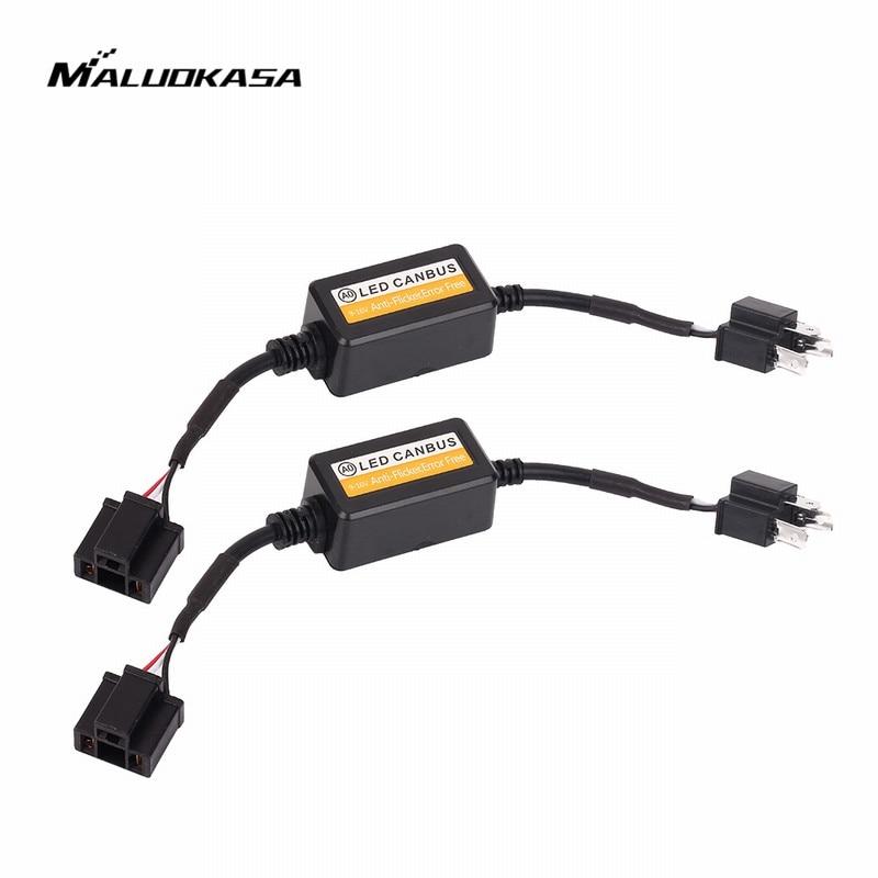 MALUOKASA 9005 9006 H1 H11 H4 H7 LED Canbus coche faro decodificador adaptador de cableado DRL lámpara LED Error cancelador de niebla luz Canbus