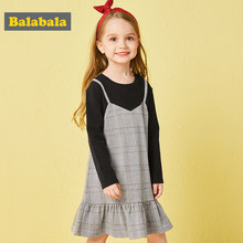 Balabala princess plaid dress autumn clothing for children toddler girl clothing Long Sleeve fashion England Style for Girls(China)