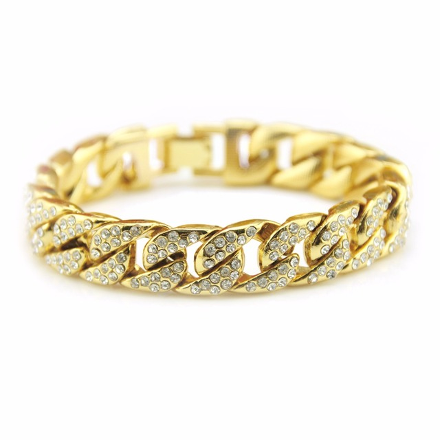 New Iced Out Chunky Bling Cz Miami Cuban Chain Hiphop Bracelet For Men Drop Shipping
