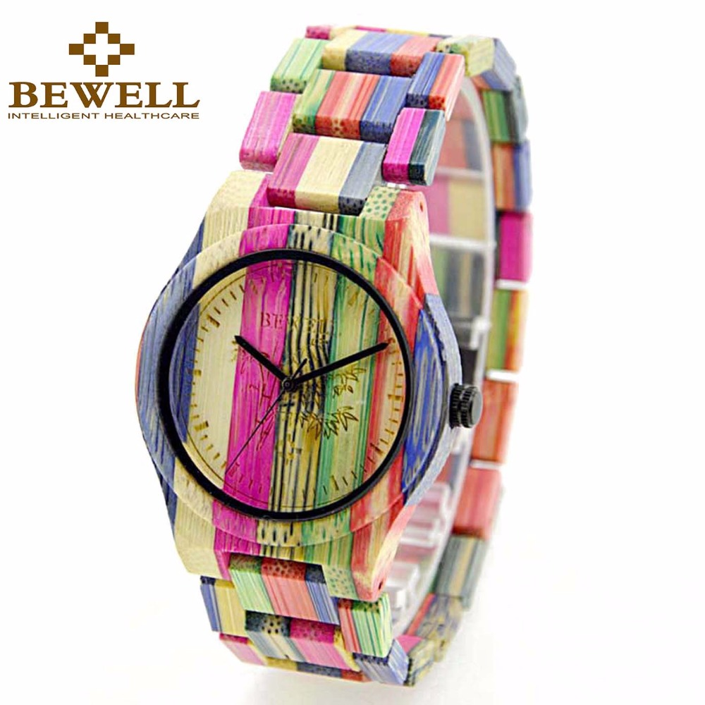 BEWELL Fashion Bracelet Wood Watch Men Colorful Bamboo Quartz Wrist Watches for Lover Gift Box Relogio 105DG