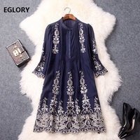 Blue Pink Dress Vintage Women Floral Embroidery Stand Collar Straight A Line Ethnic Dress Spring Summer