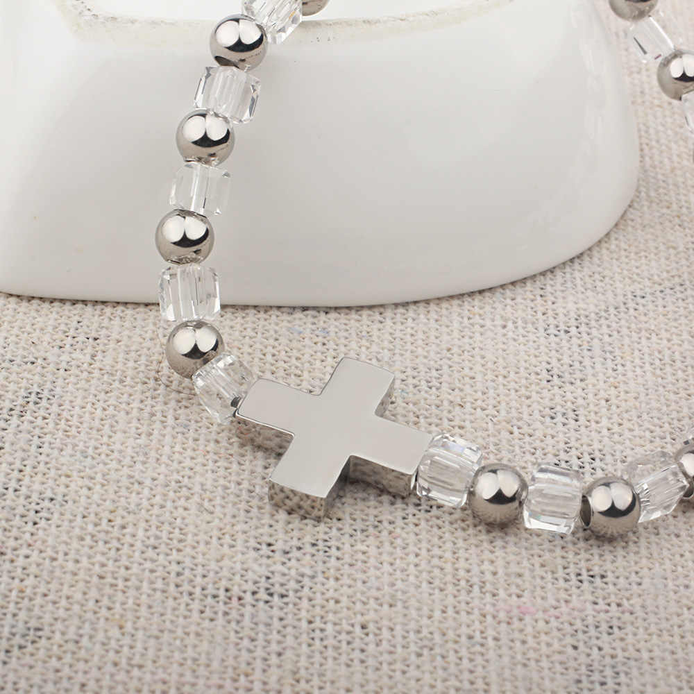 FINE4U B178 Charme Cruz de Aço Inoxidável Pulseira Pulseiras De Contas de Vidro Para Mulheres Dos Homens Ajustável Jóias Crucifixo Rosário