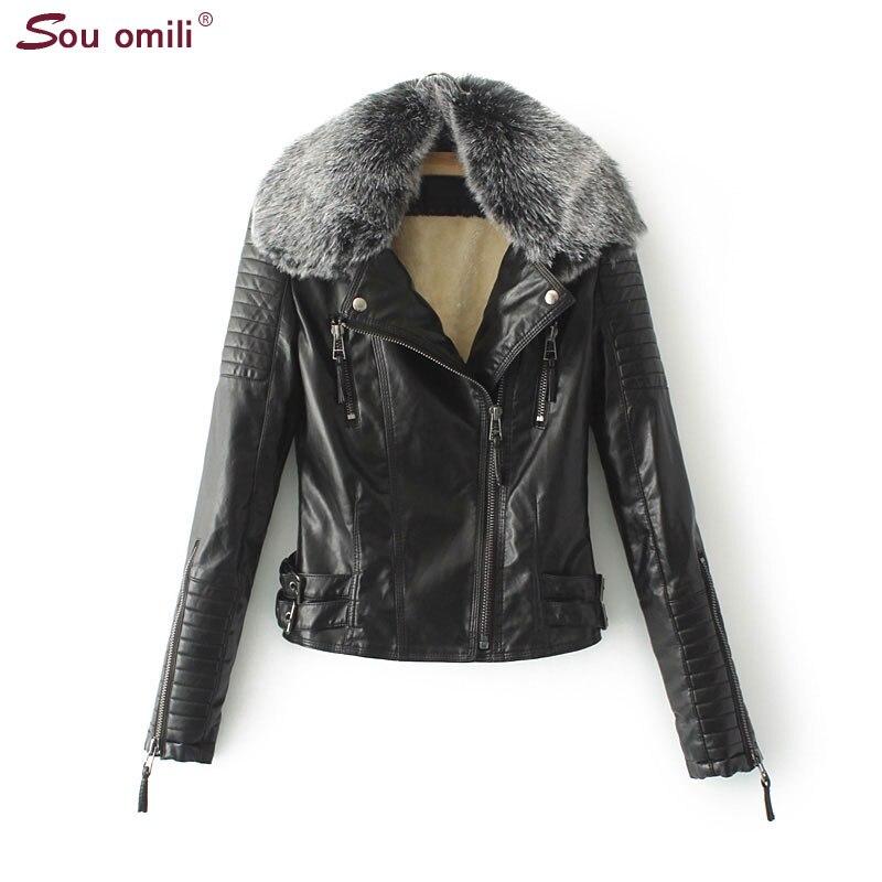 Chaud Manteau Femmes De Veste Moto En Velours Black Jaquetas Outwear Chaqueta Épais Fur Hiver Piel Femme Noir Nouveau Cuir Couro Mujer Thick zwY0n