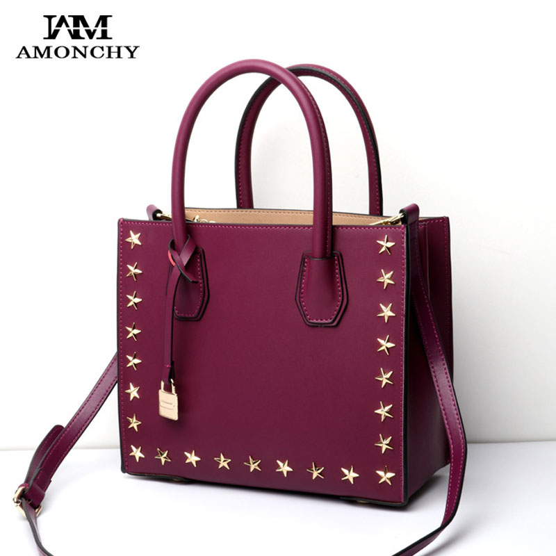 AMONCHY Brand Noble Women Genuine Leather Handbags Fashion Star Rivet Tote Bag High Quality Lock Ladies Shoulder Bags Handle Bag 2017 women handbags ladies leather commuter office tote bag high quality women bag