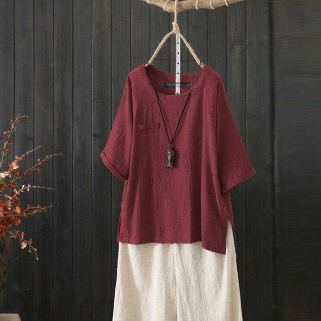 Модная блузка летняя Женская Туника 2019 ZANZEA винтажные повседневные льняные Топы женские 3/4 фонари рукав Blusas плиссированные рубашки