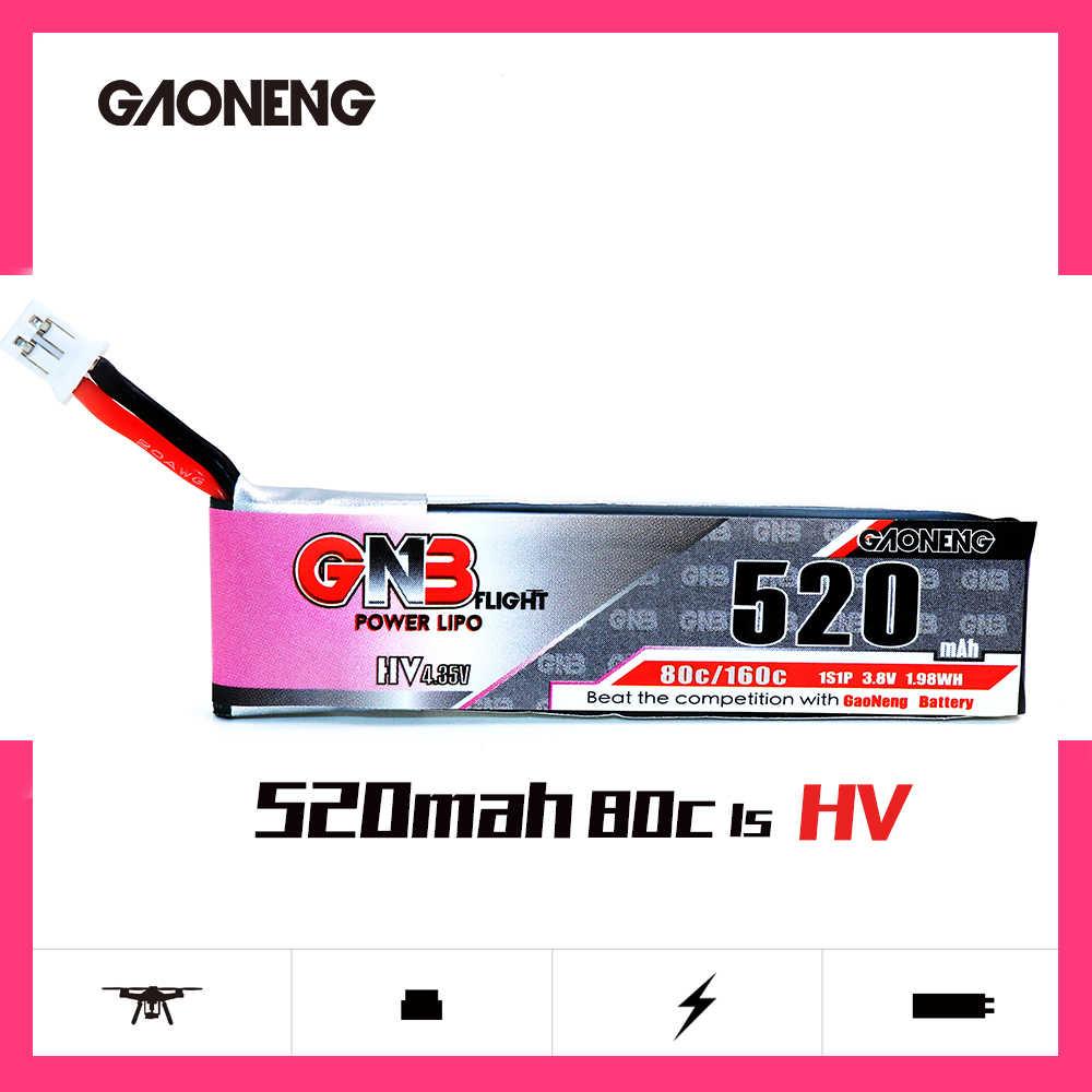 5 uds Gaoneng GNB FPV baterías 520mAh 3,8 V 80C 1S HV 4,35 V PH2.0 macho Lipo batería para Emax Tinyhawk Kingkong LDARC pequeño
