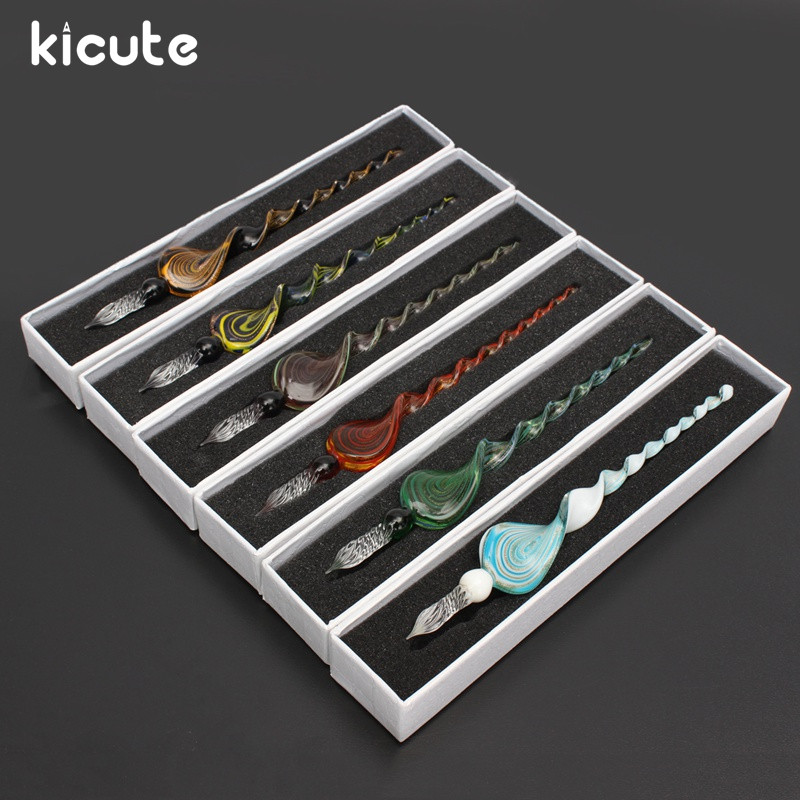 Kicute Classical Art Elegant Crystal Glass Dip Signature Pen Set Sign Ink Fountain Pen Office Stationery Special Pens Gift Box недорго, оригинальная цена