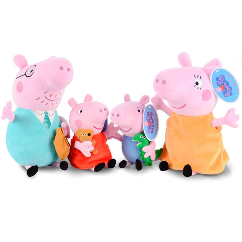 Peppa pig George pepa Pig Family Plush Toys & peppa pig bag Stuffed Doll Party decorations Schoolbag Ornament Keychain