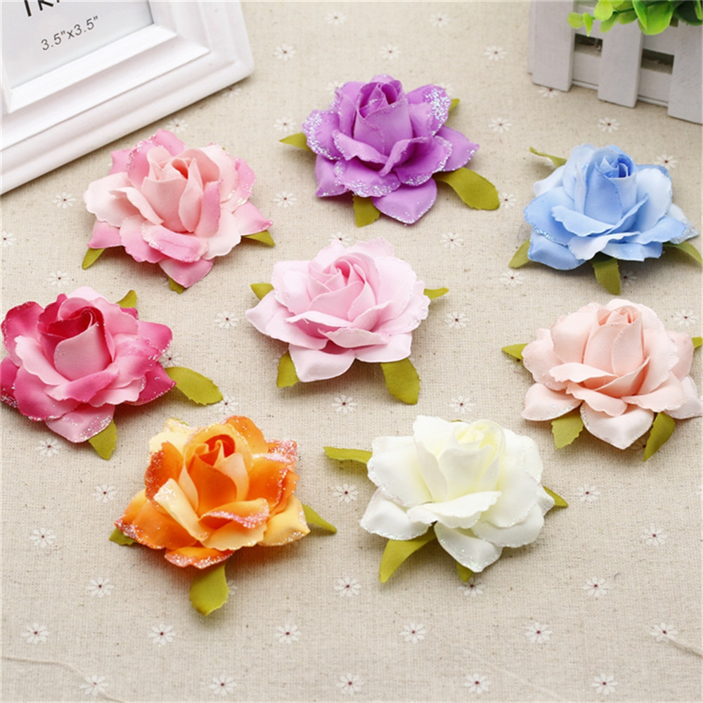 5pcs 7cm Simulation Flowers Diy Silk Flowers Wholesale Rose Bouquet