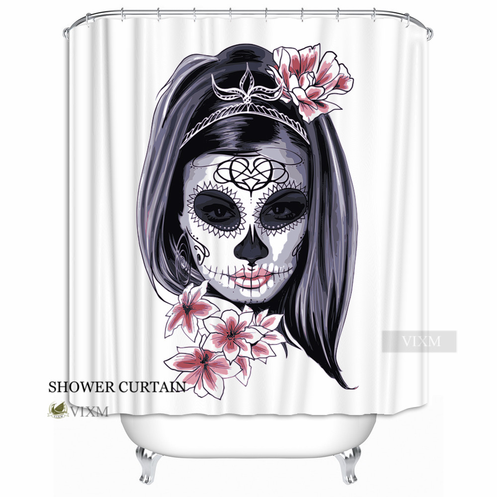 Vixm Home Dia De Los Muertos Fabric Shower Curtain Butterfly Skull Bath For Bathroom With Hooks Ring
