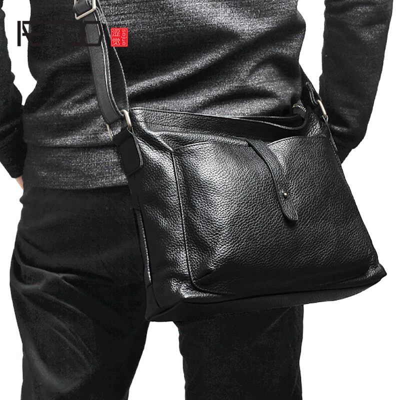 Schwarzes Rindsleder Horizontal Crossbody Tasche Mann Schulter tasche Leder Beiläufige Kopf Aetoo Weiche Einzigen Wn7Xq08