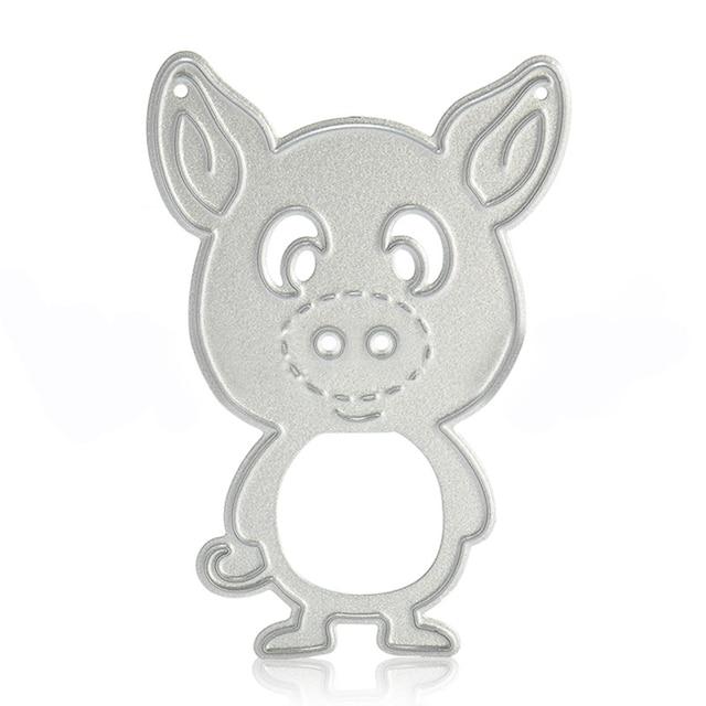 Carbon Steel Metal Pig Frog Microphone Stencils Cutting Dies DIY Card Making Tool Silver Template