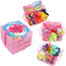 3 Layer Girls Hair Accessories Gift Box with Lot of Hair clips