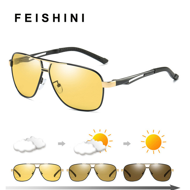 61a06f0197 Quality Day Night Vision Goggles Driver Eyeglasses Polarized Sunglasses Men  Yellow Car Driving Glasses Photochromic Outdoors