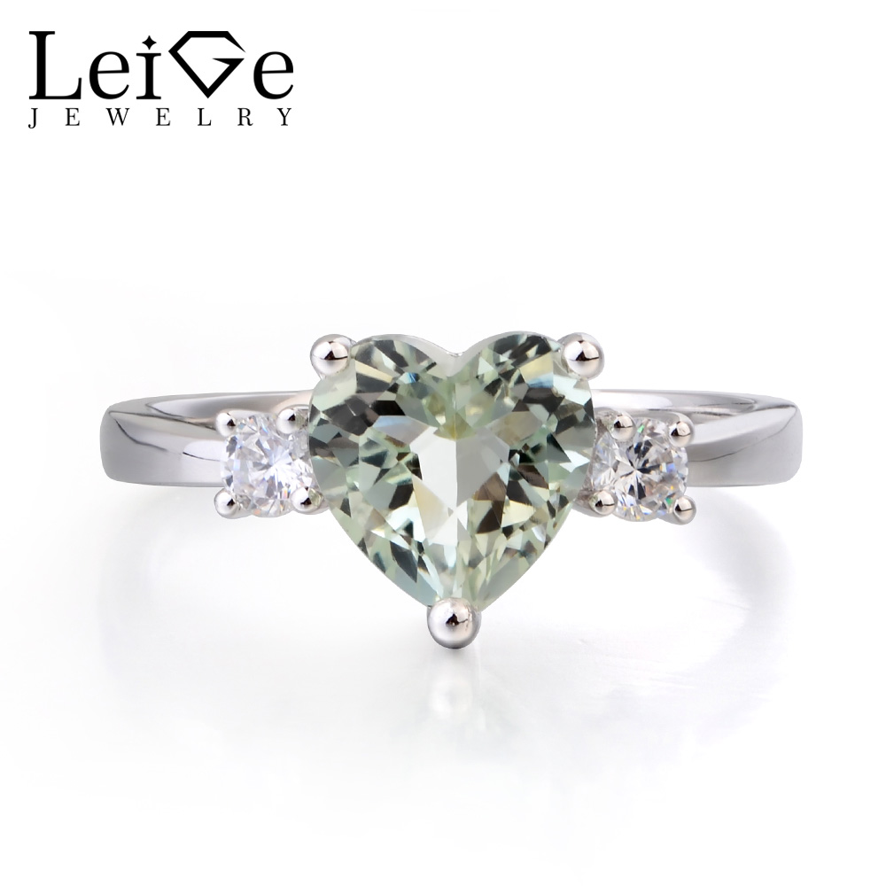 Leige Jewelry Natural Green Amethyst Ring Anniversary Ring Heart Cut Gemstone Solid 925 Sterling Silver Ring Three Stones Ring