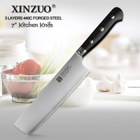 XINZUO 7'' Nakiri Knife 3 Layer 440C Core Clad Steel Chinese Kitchen Knives Stainless Steel Carving Vegetable Knife G10 Handle