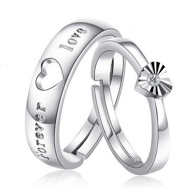 Heart Love Forever 925 Silver Wedding Ring For Women And Men His Her Promise Couple