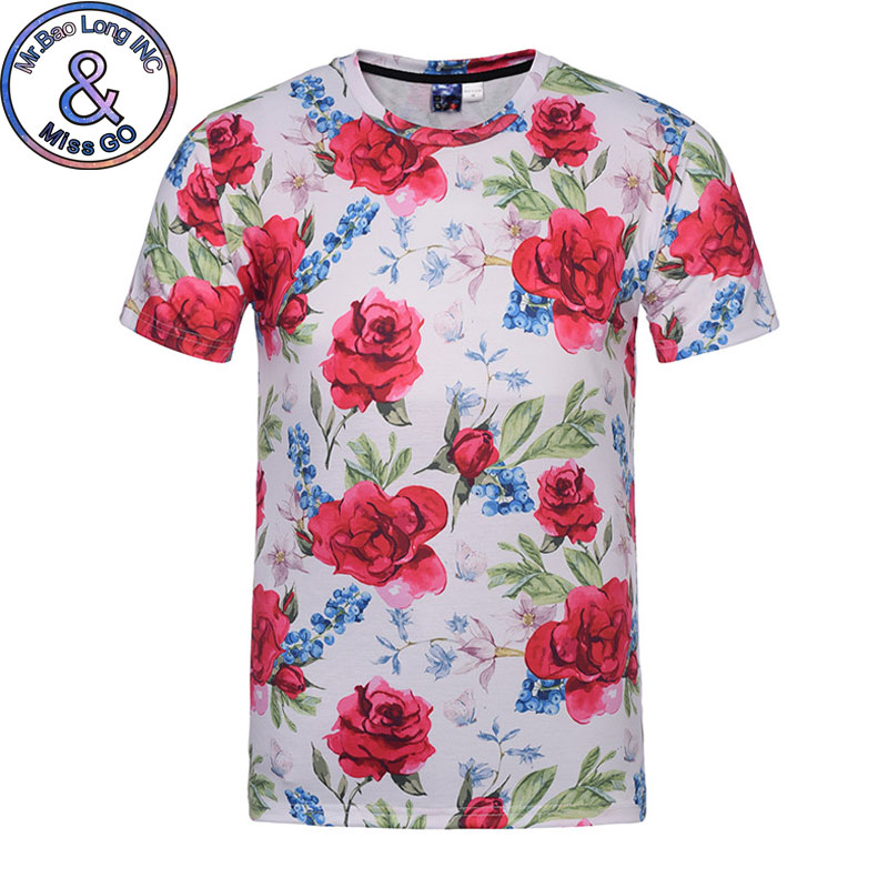 T-shirts Yx Girl 2018 Summer New Fashion 3d T-shirt Flowers Rose/peony Print Retro Style T Shirts Men/women Casual Cool Tee Shirts
