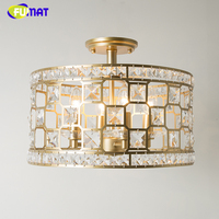 FUMAT Crystal Ceiling Lamp European Creative Art Crystal Lights For Living Room Bed Room Gold Finished