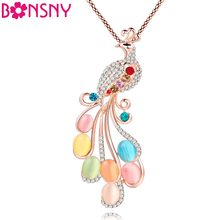 Bonsny Peacock Necklace Long Pendant Brand Crystal Chain New 2017 Zinc Alloy Girl Women Fashion Jewelry Statement Accessories(China)