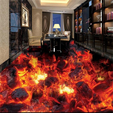 цены 3D PVC Flooring Custom 3D Bathroom Flooring Wallpaper Flame Combustion Waterproof 3D floor Murals Photo Wallpaper For Walls 3d