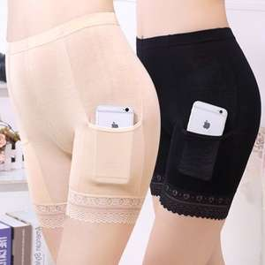 Pants Boxer-Shorts Lace Chafing Thigh Plus-Size with Pockets Safety