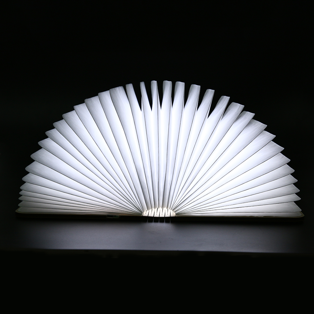 Creative Foldable Pages Led Book Shape Night Light Lighting Lamp Portable Booklight Usb Rechargeable White Warm White ledgle led wooden book lamp usb rechargeable folding night light creative book light night lamp for decor or lighting warm white