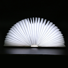 Creative Foldable Pages Led Book Shape Night Light Lighting Lamp Portable Booklight Usb Rechargeable White Warm White