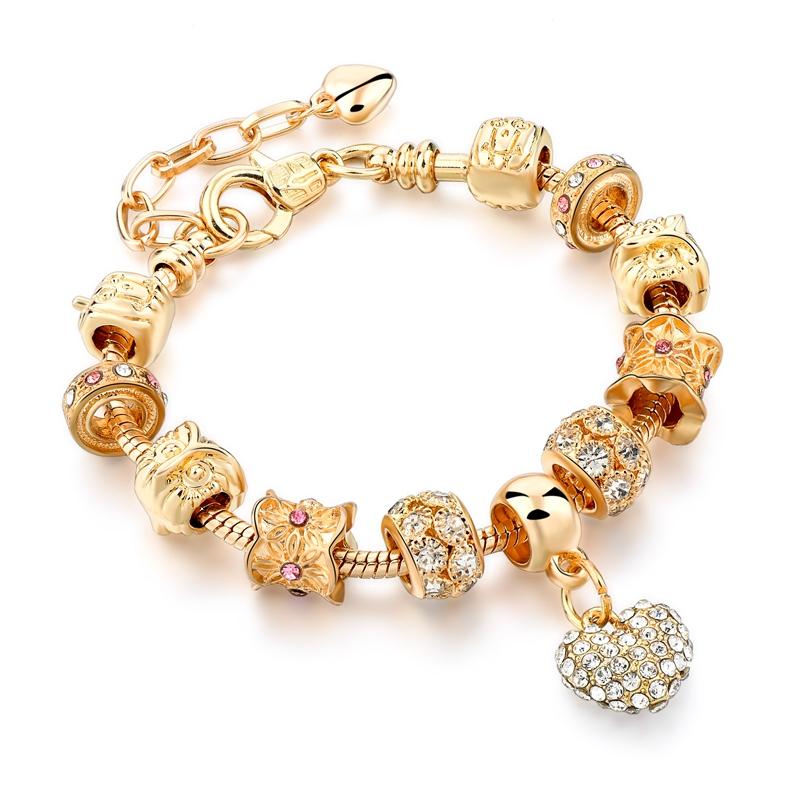 Crystal Heart Charm Bracelet 14