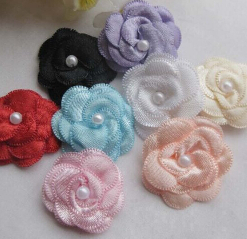 16 pcs Mix Color Ribbon Flowers With Bead Sewing Craft Wedding Appliques   A0010