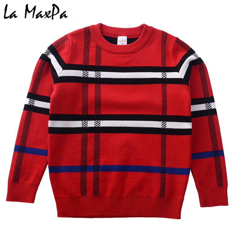 Baby sweaters Jumper autumn winter Plaid children pullovers O-neck sweater Kids children clothing Warm Outwear boys Sweaters slim fit v neck plaid pattern sweater