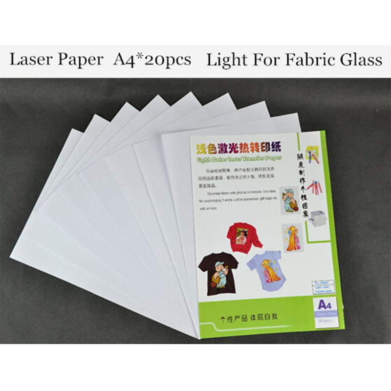 (A4*20pcs) Color Laser Heat Transfer Printing Paper Warm Peel Laser Printer Light Color Thermal Papel Transfer For Glass TL-150H