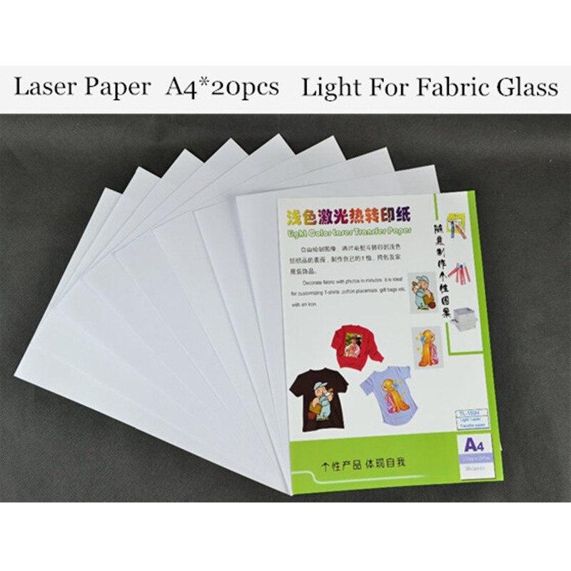 (A4*20pcs) Color Laser Heat Transfer Printing Paper Warm Peel Laser Printer Light Color Thermal Papel Transfer For Glass TL-150H