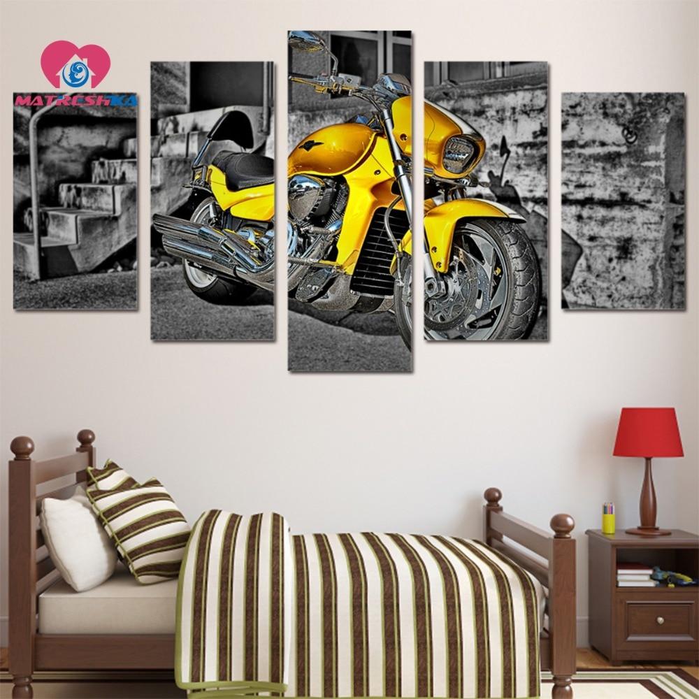 Diamant broderie paysage moto diamant peinture plein carré photos de cristaux 5d strass art point de croix modèles