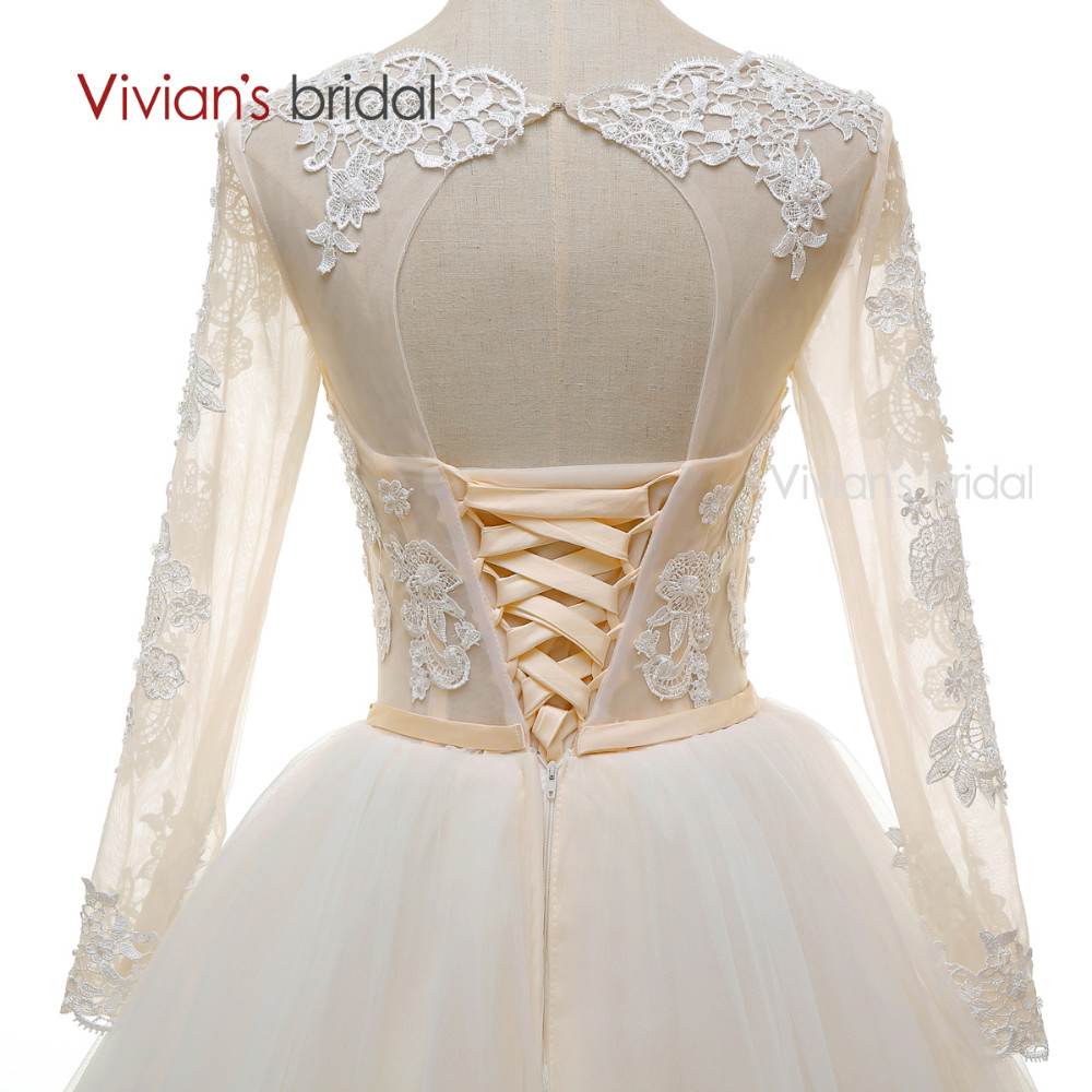 Long Sleeves Beads Lace Champagne Wedding Dresses (9)