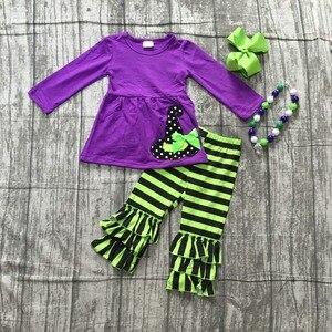 Image 1 - Осенняя шляпа ведьмы для Хэллоуина, наряды для маленьких девочек, эксклюзивная детская одежда, Детские хлопковые штаны в фиолетовую и зеленую полоску, подходящие аксессуары