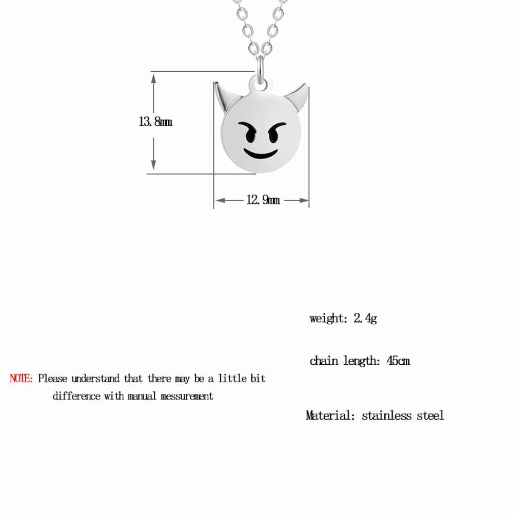 Kinitial  New Stainless Steel Round Coin Emoji Face Angry Expression Pendants Necklaces Emoticon Emotion Head Necklace Jewelry
