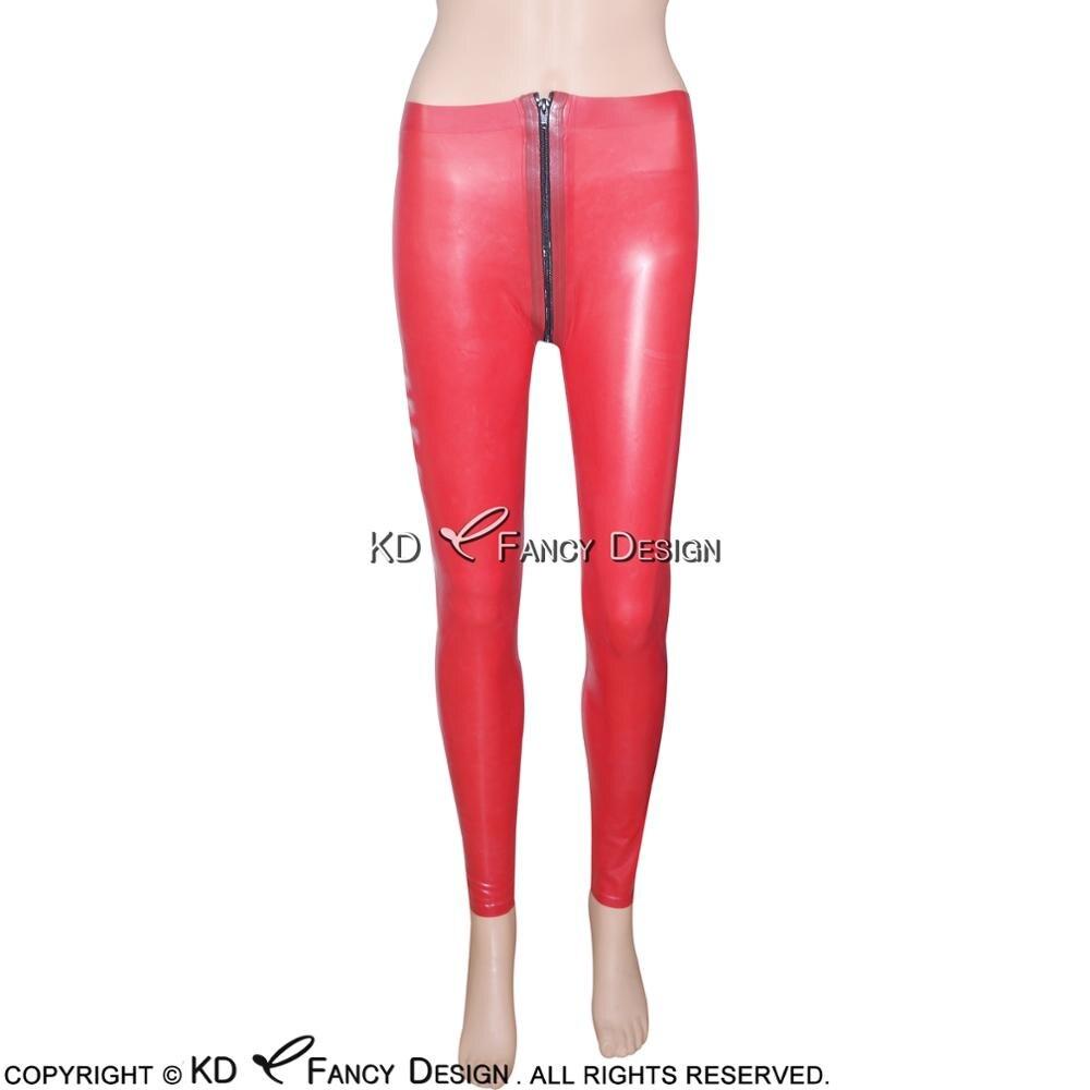 Красные сексуальные латексные леггинсы с передней на молния в промежности резиновые штаны джинсы брюки плюс размер CK 0012