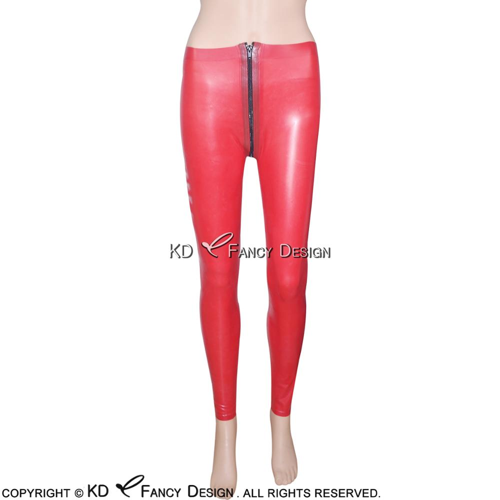Red Sexy Latex Leggings With Front To Crotch Zipper Rubber Pants Jeans Trousers Bottoms Plus Size CK 0012