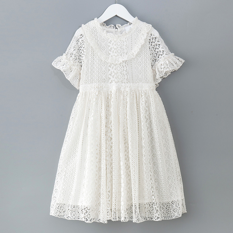 6 to 16 years kids & teenager girls summer solid white pink hollow out lace ruffle flare princess party dresses clothes white lace hollow out deep v neck party dresses
