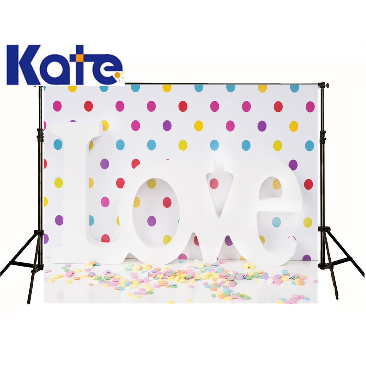 все цены на kate Photographic background I love colored dots on white space customize backdrops baby wedding 150x200cm онлайн