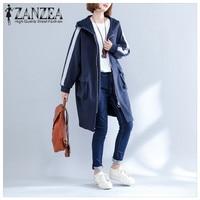 ZANZEA 2018 Fashion Women Long Sleeve Street Jacket Autumn Winter Casual Loose Baggy Hooded Coat Zipper